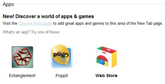 Google Chrome's New Tab Features the Web App Store