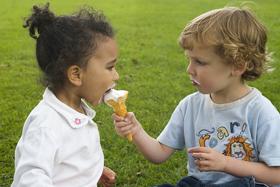 two children sharing