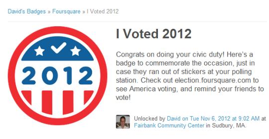 Foursquare Voter Badge